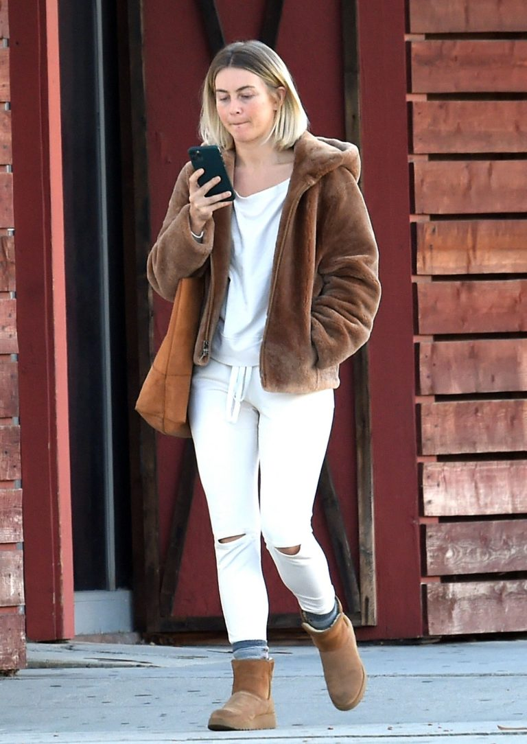 Julianne Hough Without Makeup in White Outfit with Brown Jacket Out in Burbank 2019/11/23 7