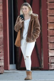 Julianne Hough Without Makeup in White Outfit with Brown Jacket Out in Burbank 2019/11/23 8