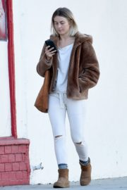 Julianne Hough Without Makeup in White Outfit with Brown Jacket Out in Burbank 2019/11/23 9