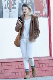 Julianne Hough Without Makeup in White Outfit with Brown Jacket Out in Burbank 2019/11/23 10
