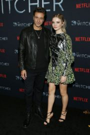 Adam Levy and Freya Allan attend The Witcher Photocall in Hollywood 2019/12/03 2