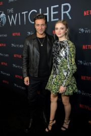 Adam Levy and Freya Allan attend The Witcher Photocall in Hollywood 2019/12/03 7