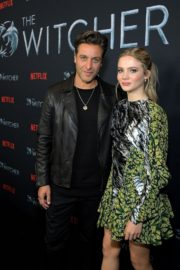 Adam Levy and Freya Allan attend The Witcher Photocall in Hollywood 2019/12/03 8