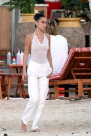 Bella Hadid in see-through sheer top outside photoshoot in St Barts 2019/12/08 2