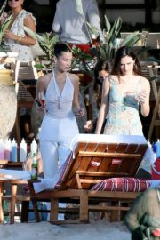 Bella Hadid in see-through sheer top outside photoshoot in St Barts 2019/12/08 5