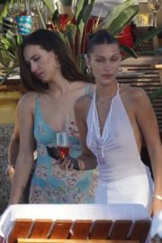 Bella Hadid in see-through sheer top outside photoshoot in St Barts 2019/12/08 6