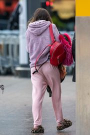 Bella Thorne without makeup in cozy jacket and pink sleepwear out in London 2019/12/03 1