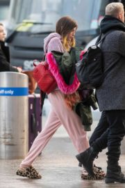 Bella Thorne without makeup in cozy jacket and pink sleepwear out in London 2019/12/03 4