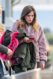 Bella Thorne without makeup in cozy jacket and pink sleepwear out in London 2019/12/03 7