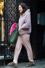Bella Thorne without makeup in cozy jacket and pink sleepwear out in London 2019/12/03 15