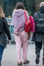 Bella Thorne without makeup in cozy jacket and pink sleepwear out in London 2019/12/03 17