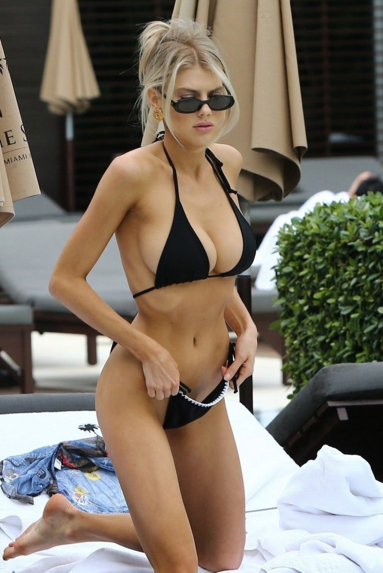 Charlotte McKinney in Black Bikini on the Pool, Miami 2019/12/07 22