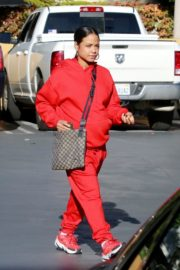 Christina Milian seen in red outfit at her Beignet Box outside in Studio City 2019/12/15 1