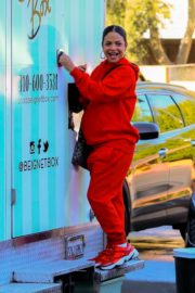 Christina Milian seen in red outfit at her Beignet Box outside in Studio City 2019/12/15 3
