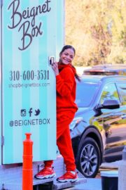 Christina Milian seen in red outfit at her Beignet Box outside in Studio City 2019/12/15 7