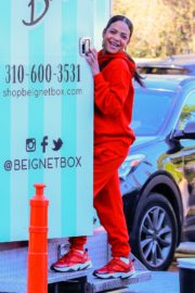 Christina Milian seen in red outfit at her Beignet Box outside in Studio City 2019/12/15 8