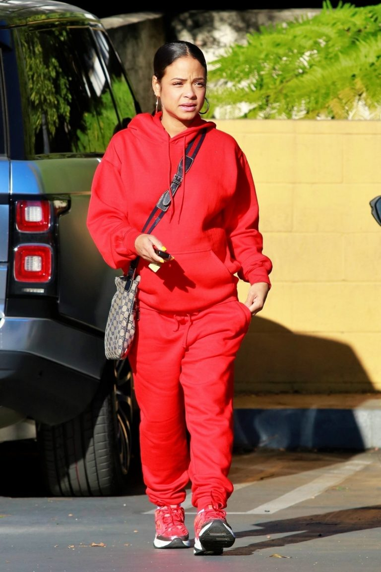 Christina Milian seen in red outfit at her Beignet Box outside in Studio City 2019/12/15 9