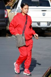 Christina Milian seen in red outfit at her Beignet Box outside in Studio City 2019/12/15 10