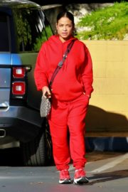 Christina Milian seen in red outfit at her Beignet Box outside in Studio City 2019/12/15 11