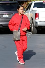 Christina Milian seen in red outfit at her Beignet Box outside in Studio City 2019/12/15 14