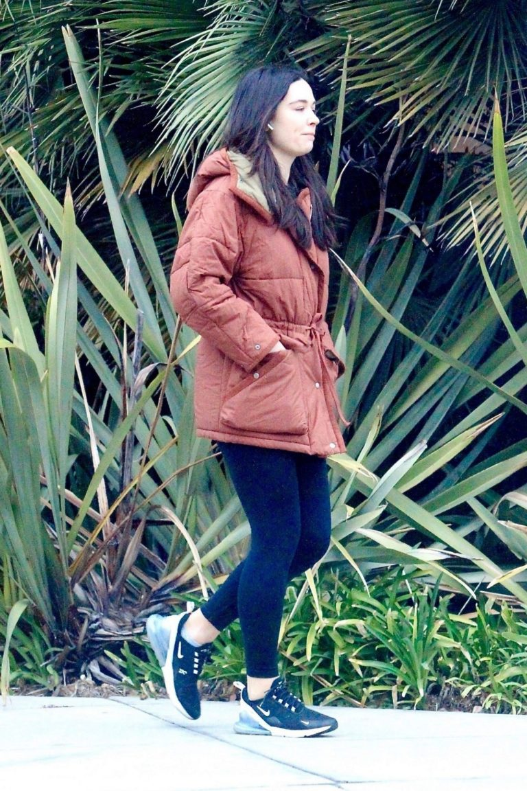 Crystal Reed in long puffer belt jacket and tights out in Hollywood 2019/11/30 1