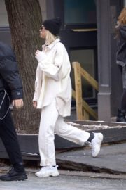 Dua Lipa in white outfit out and about in New York City 2019/12/19 2