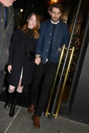 Emma Stone and her partner Dave McCary out the SNL afterparty in New York 2019/12/07 2