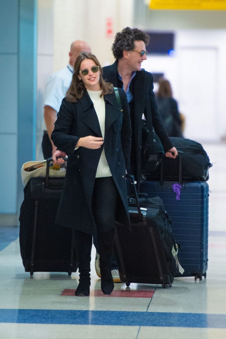 Felicity Jones and husband Charles Guard out at JFK Airport in New York (November 30, 2019) 6