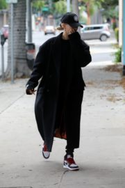 Hailey Bieber in long coat with tights out in Los Angeles 2019/11/30 1