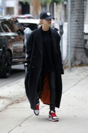 Hailey Bieber in long coat with tights out in Los Angeles 2019/11/30 2