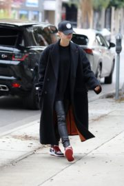 Hailey Bieber in long coat with tights out in Los Angeles 2019/11/30 3
