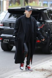 Hailey Bieber in long coat with tights out in Los Angeles 2019/11/30 4