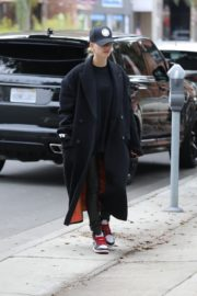 Hailey Bieber in long coat with tights out in Los Angeles 2019/11/30 5