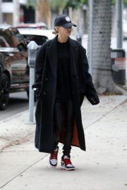 Hailey Bieber in long coat with tights out in Los Angeles 2019/11/30 6