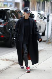 Hailey Bieber in long coat with tights out in Los Angeles 2019/11/30 8