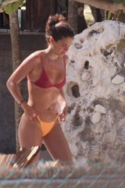 Sara Sampaio in Purple Bra and Yellow Bikini enjoys pool during her holiday vacation in Tulum, Mexico 2019/11/29 4