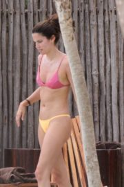 Sara Sampaio in Purple Bra and Yellow Bikini enjoys pool during her holiday vacation in Tulum, Mexico 2019/11/29 10