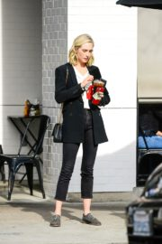 Candice King seen in Black Suit with ankle pants out in Los Angeles 2020/01/30 1