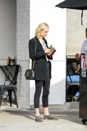 Candice King seen in Black Suit with ankle pants out in Los Angeles 2020/01/30 2