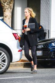 Candice King seen in Black Suit with ankle pants out in Los Angeles 2020/01/30 3