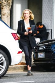 Candice King seen in Black Suit with ankle pants out in Los Angeles 2020/01/30 4