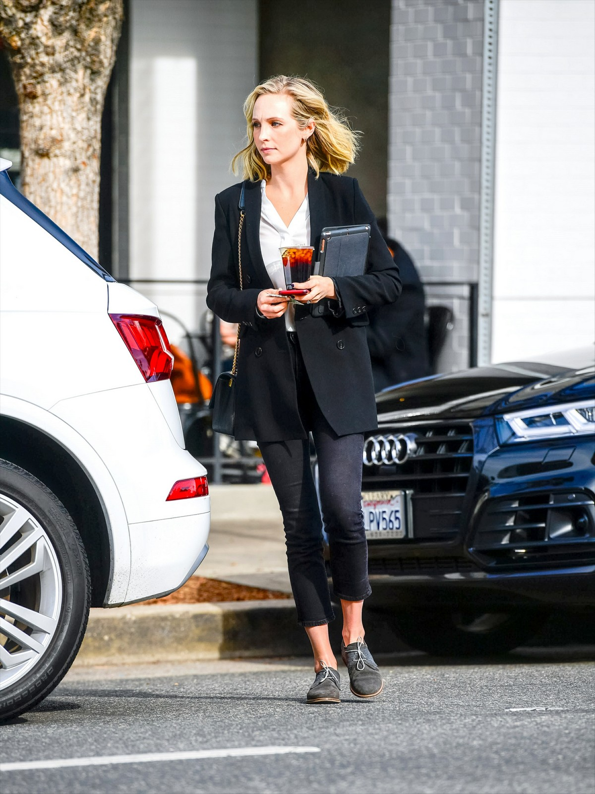 Candice King seen in Black Suit with ankle pants out in Los Angeles 2020/01/30 5