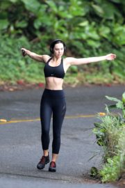 Alexis Ren in black outfit during morning walks out in Hawaii 2020/03/26 2