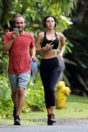 Alexis Ren in black outfit during morning walks out in Hawaii 2020/03/26 4