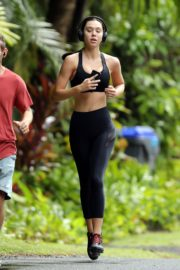 Alexis Ren in black outfit during morning walks out in Hawaii 2020/03/26 5