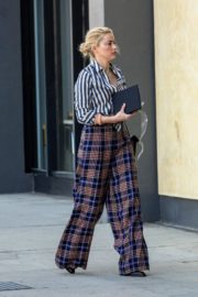 Amber Heard in lining shirt with checked bottom in Beverly Hills, California 2020/03/04 22