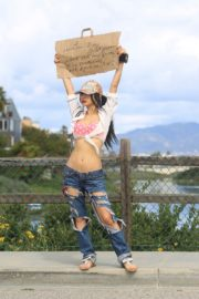 Bai Ling seen in pink dotted bra and ripped jeans during Coronavirus 2020/03/25 8