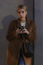 Emma Roberts in long brown coat with blue denim out in Los Angeles, California 2020/03/04 4