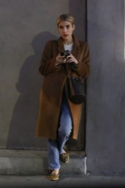 Emma Roberts in long brown coat with blue denim out in Los Angeles, California 2020/03/04 5