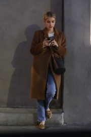 Emma Roberts in long brown coat with blue denim out in Los Angeles, California 2020/03/04 7